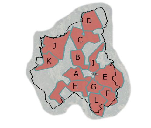 Karta med områden